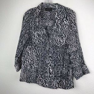 Foxcroft Wrinkle-Free Safari Shirt Black/Animal SZ